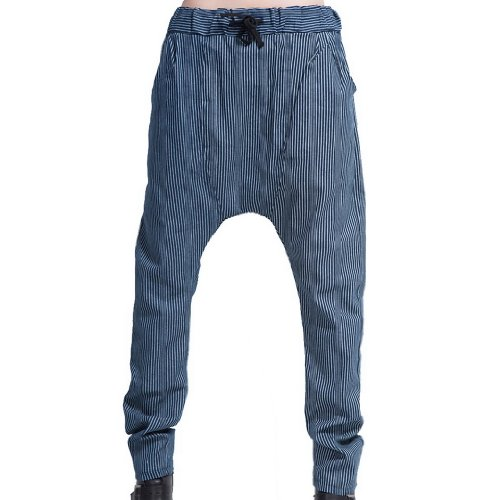 Tangda Women Cotton Blend Gym Hip-Hop Harem Blue Plaid Sport Dance Pants