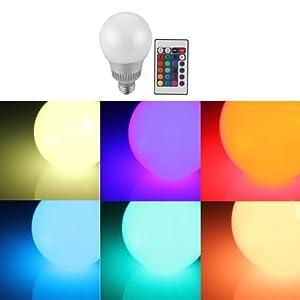 Sonline E27 RGB Bombilla Bulbo LED 9W 230V 16 Colores Control Remoto Mando Party Fiesta