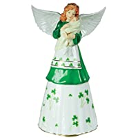 Irish Angel Mother with Baby Musical Revolving Porcelain Figurine Music Box