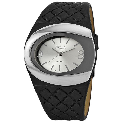 """Breda Women's 3172_black """"Farah"""" Quilted Black Leather Band Watch"""