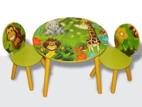 41v%2BMmmjbZL Cheap  Kids Wooden Round Table and Chairs Set with Storage   Jungle