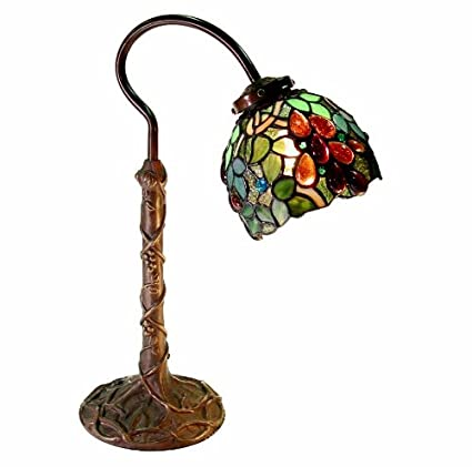Warehouse of Tiffany 2312-BB632 Tiffany-style Grape Desk Lamp, Green