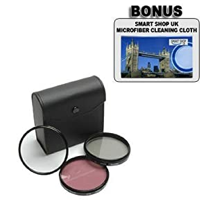 Nikon D40, D60 – 52mm High Resolution 3-piece Filter Set (UV, Fluorescent, Polarizer) – Black