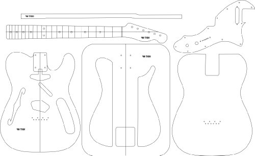 Electric Guitar Layout Template - '69 Thin