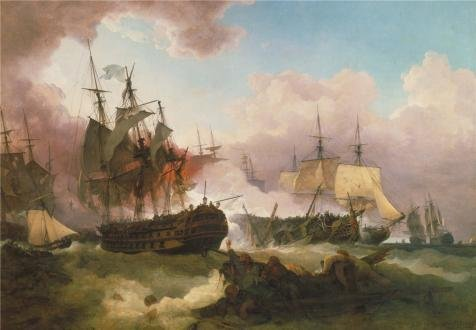 Oil Painting 'Phillip James De Loutherbourg - The Battle Of Camperdown,1799' 10 x 14 inch / 25 x 37 cm