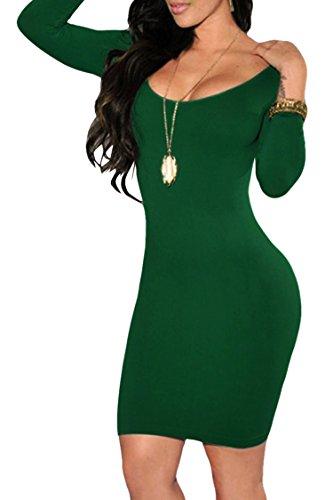 Womens Long Sleeves Dress Crewneck Bodycon Bandage Midi Evening Dresses