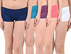 Mynte Women's Sports Shorts (MEWIWCMBP-105-104-103-102-101, Blue, Purple, Pink, White, , Free Size, Pack of 5)