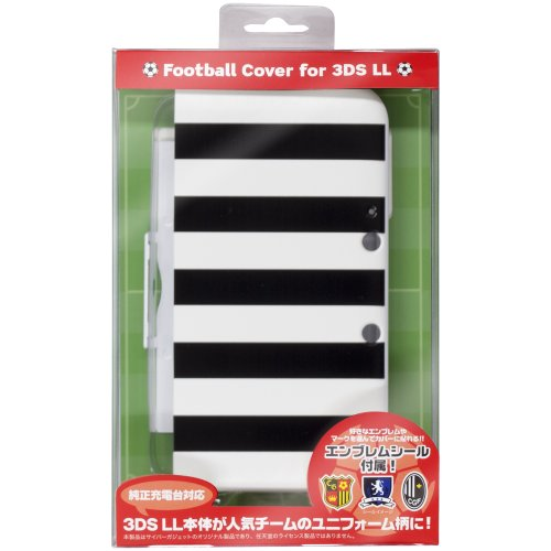CYBER ・ フットボールカバー ( 3DS LL 用) ブラック×ホワイト 【専用充電台 併用可能】