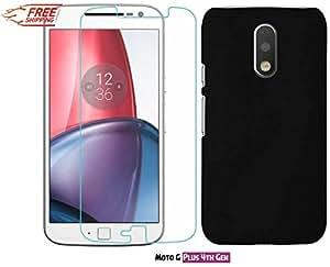 Unistuff™ Motorola Moto G Plus, 4th Gen/ Moto G 4th Gen/Moto G4/ Moto G4 Plus [COMBO OFFER] Kristal Clear Screen Guard and Matte Finish Hard Case Back Cover Accessory Combo (Black)