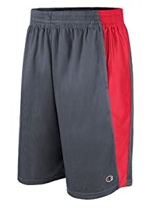 Champion Men`s Textured Dazzle Basketball Shorts,82619,M,Slate Grey/Crimson