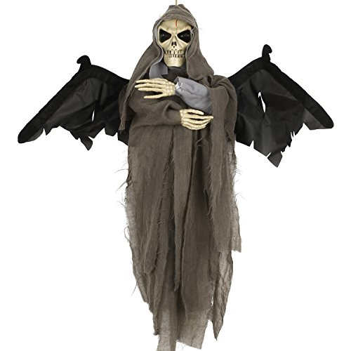 Naice Halloween Decoration 23'' Flying Ghost with Creepy Voice, Shaking Wings and Lighting Eyes Halloween Haunted House Prop Decor Halloween (Halloween Haunted House Themes)