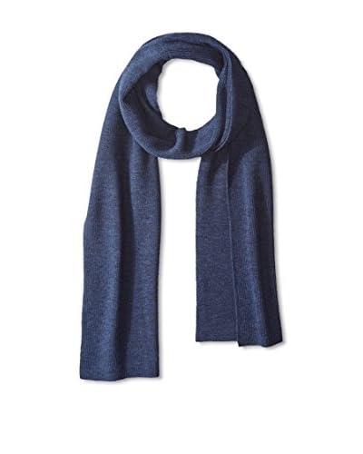Cullen Men's Solid Half Cardigan Stitch Rib Merino Knit Scarf, Indigo