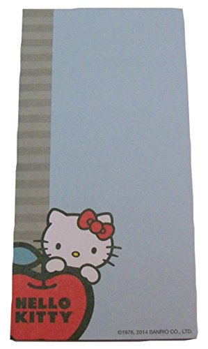 "Hello Kitty Magnetic List Pad ~ Kitty Peeking from Behind Apple on Blue (4"" x 8""; 60 Unlined Sheets)"