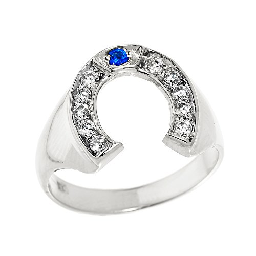 Men's 925 Sterling Silver Blue and White CZ Lucky Horseshoe Ring