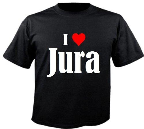 """Kinder T-Shirt """"I Love Jura""""Größe""""128""""Farbe""""Schwarz""""Druck""""Weiss"""