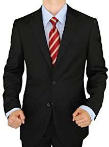 Presidential Giorgio Napoli 2 Button Mens Suit Modern Business Fit Pure Black