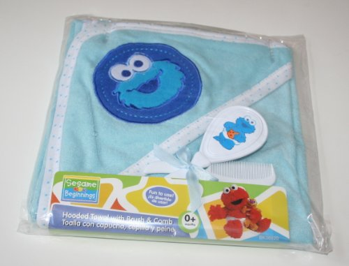 Sesame Street Hooded Blanket With Brush & Comb Set - Blue(COOKIE MONSTER) - 1