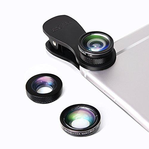 EPCTEK-3-in-1-Clip-On-Camera-Lens-Kit180Supreme-Fisheye-Lens10X-Macro-Lens065X-Wide-Angle-for-iPhone-76s6s-Plus-Samsung-S6edgeS7S7-edgeSamsung-Note-5LG-G5Nexus-5X66PMotoHTCSony