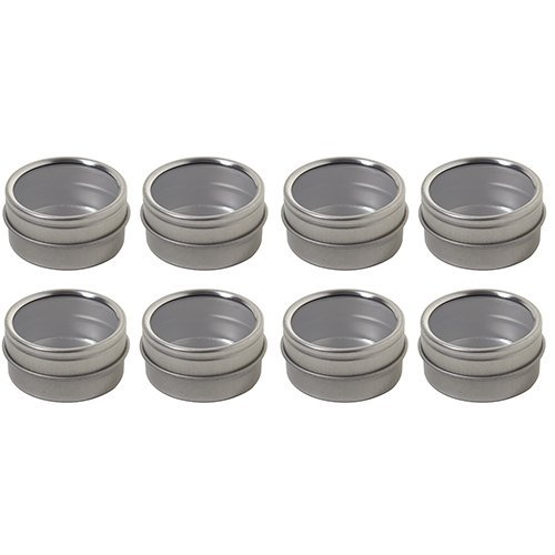 Silver Metal Steel Tin Flat Container with Tight Sealed Clear Lid - .50 oz (8 Pack) (Clear Pill Container compare prices)