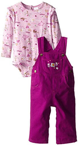 Carhartt Baby-Girls Infant Canvas Bib Overall Set Farm Scene, Hollyhock, 12 Months front-802328