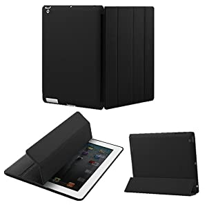 KHOMO Polyurethane Smart Cover FRONT + Hard Rubberized Poly-carbonate BACK Protector for Apple iPad 2