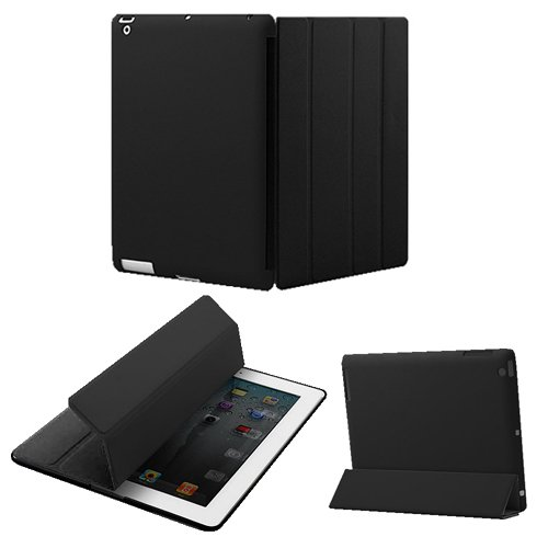 KHOMO DUAL CASE: Polyurethane Smart Cover FRONT + Hard Rubberized Poly-carbonate BACK Protector for Apple iPad 2 new iPad 3 (The new iPad HD)