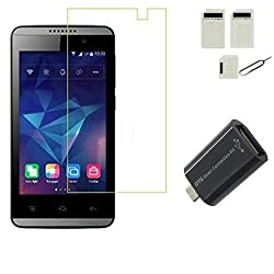 APS GOLD 0.3mm, 2.5D Curved Edge, Anti Explosion Tempered GlassFor Reliance Jio Lyf Flame 3 [Cutout for Proximity Sensor], 9H Hardness, Bubble-free, Reduce Fingerprint, No Rainbow, Oleophobic Coating comes with Alcohol wet cloth pad & clean micro fibre Dry cloth for Reliance Jio Lyf Flame 3 + Sim Adapter +OTG Adapter