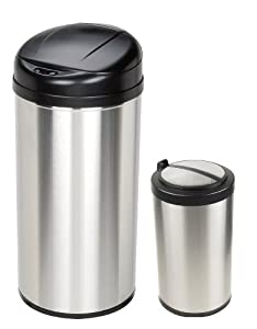 """Motion Sensor Trash Can Combo Pack (Stainless Steel) (24""""H x 16.2""""W x 11.4""""D)"""