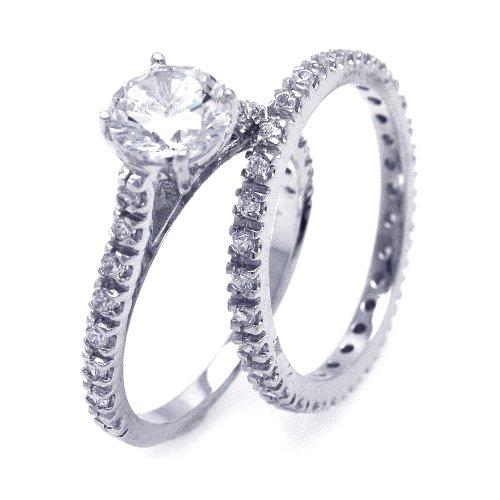 Sterling Silver Engagement Set Size 5