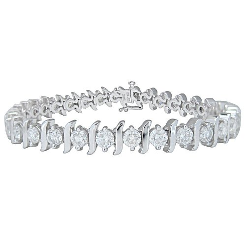 IGI Certified 10k White Gold S-Link Diamond Tennis Bracelet (10 cttw, I-J Color, I1-I2 Clarity), 7.5