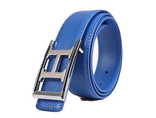 Fashion liscia H fibbia cinture di alta qualità pelle cinture per le donne Blue 110 cm