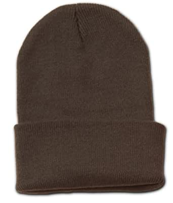 Blank Long Cuff Beanie Cap (Choose Many Colors Available), Brown