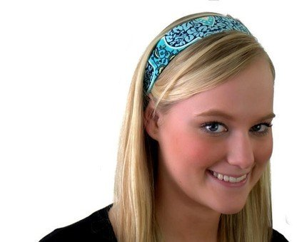 Skinny Headband, Pressed Flowers, Beautiful Aqua Print, Amy Butler Fabric Made By Bargain Headbands