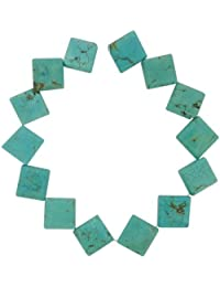 Tennessee Crafts 1630 Semi Precious Turquoise Dyed Howlite Turquoise Diamond 16mm Beads, 13-Piece