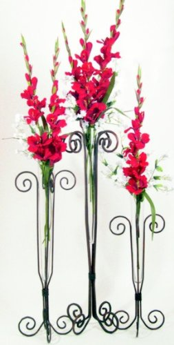 Tall Glass Flower Vase Set Of 3 On A Stylish Collectible Metal Stand