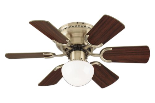 Westinghouse 78603 Petite 6-Blade 30-Inch 3-Speed Hugger-Style Ceiling Fan with Light, Antique Brass