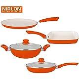 NIRLON Ceramic Nonstick CoatedInduction Cookware Set Pans & Pots (Dosa Tawa, Roti Tawa, Kadhai, Grill Pan)