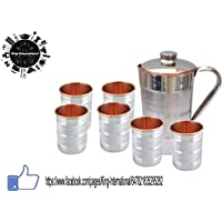 King International Steel Copper Jug With Stainless Steel Copper 6 Glass Set
