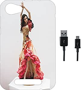 BKDT Marketing Printed Soft Back Cover Combo for Intex Aqua Ace 2 With Charging Cable