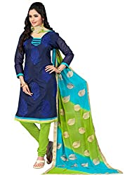 Impressive Navy Blue & Green Coloured Embroidered Dress Material