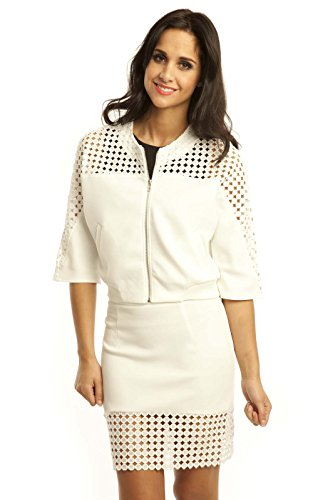 Ikrush Kristin Cut Out Cropped Bomber Jacket M Cream front-1045019