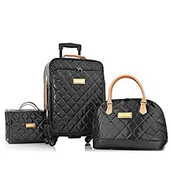 Joy & IMAN 4-piece Iconic Quilted Patent Luggage Set with Handbag - Rich Black