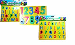 Educational Learning Puzzles ~ Includes 3 Foam Puzzles ~ Uppercase and Lowercase Letters and Numbers (Yellow)