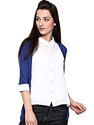 Wills Lifestyle Women Off-White & Blue Shirt(WCWFT237D30 ) (Small)