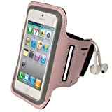 igadgitz Pink Reflective Anti-Slip Neoprene Sports Gym Jogging Armband for New Apple iPhone 5 Cell Phone 4G LTE