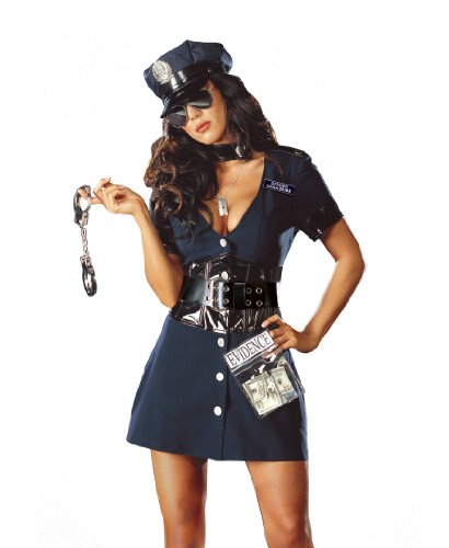 Dreamgirl Women's Corrupt Cop Costume,Navy,Large