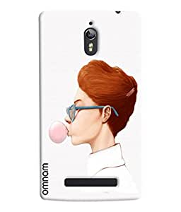 Omnam Girl Making Bubble Out Of Chewing Gum Printed Designer Back Cover Case For Oppo Find 7