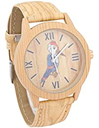 COSMIC WOODEN LOOK UNISEX KIDS WATCH WITH BLUE KINGFISHER BIRD DESIGN ON DIAL