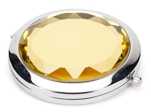 Compact 2-Optical Dfp Quality Glass Mirrors/Purse Handbag Double Compact Cosmetic Mirror/Magic Mirrors Focus Big Eyes Compact With 5X And 1X Mirrors/Faux Jewel Compact Mirror (Gold) front-333309