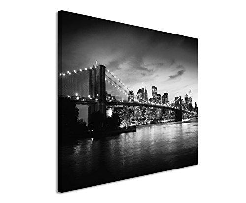 50x70cm Leinwandbild schwarz weiß in Topqualität Sonnenuntergang Manhattan Brooklyn Bridge